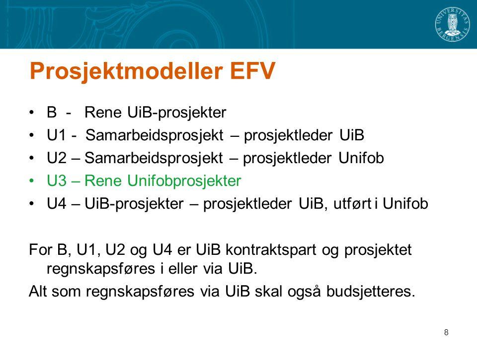 8 Prosjektmodeller EFV B - Rene UiB-prosjekter U1 - Samarbeidsprosjekt – prosjektleder UiB U2 – Samarbeidsprosjekt – prosjektleder Unifob U3 – Rene Un