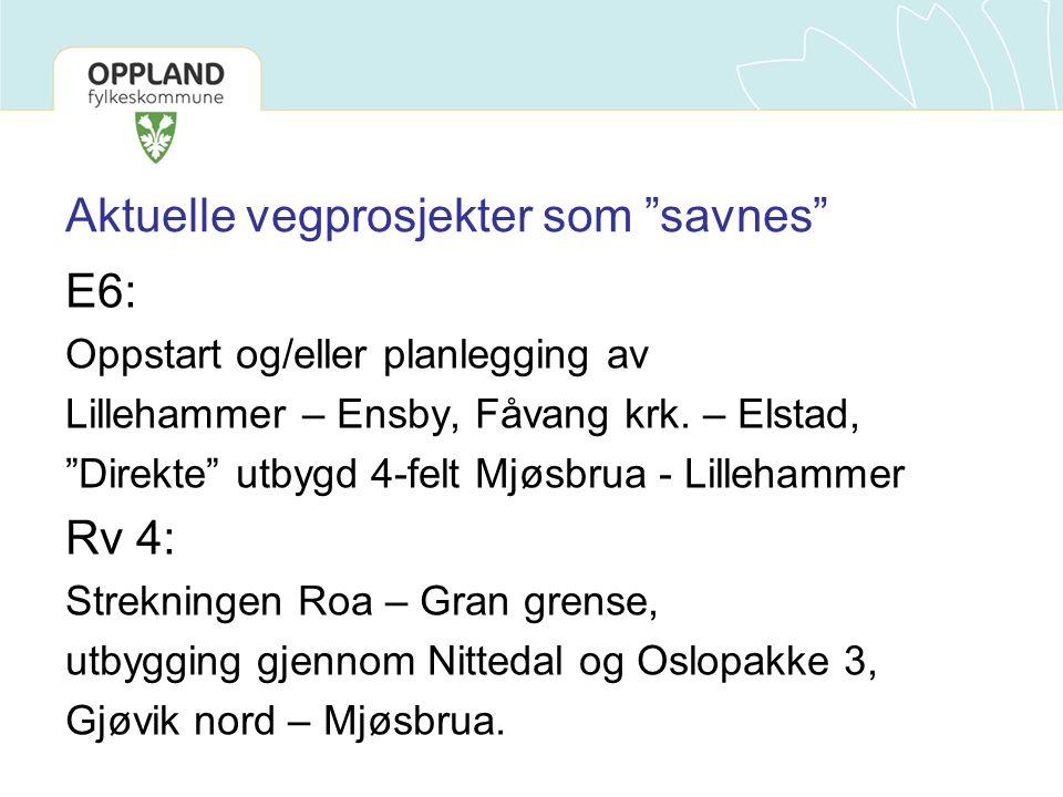 """Aktuelle vegprosjekter som """"savnes"""" E6: Oppstart og/eller planlegging av Lillehammer – Ensby, Fåvang krk. – Elstad, """"Direkte"""" utbygd 4-felt Mjøsbrua -"""