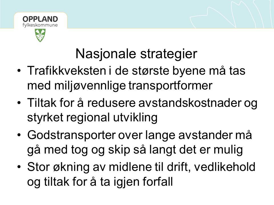 Nasjonale strategier Trafikkveksten i de største byene må tas med miljøvennlige transportformer Tiltak for å redusere avstandskostnader og styrket reg