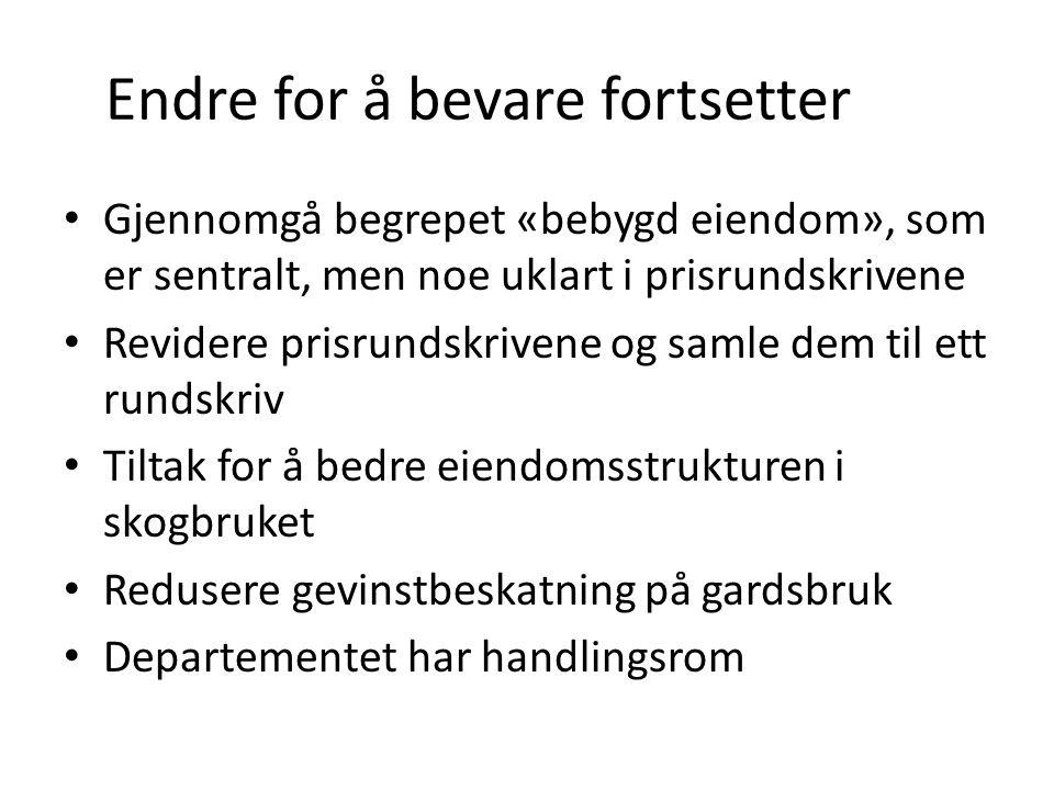 Endre for å bevare fortsetter Gjennomgå begrepet «bebygd eiendom», som er sentralt, men noe uklart i prisrundskrivene Revidere prisrundskrivene og sam