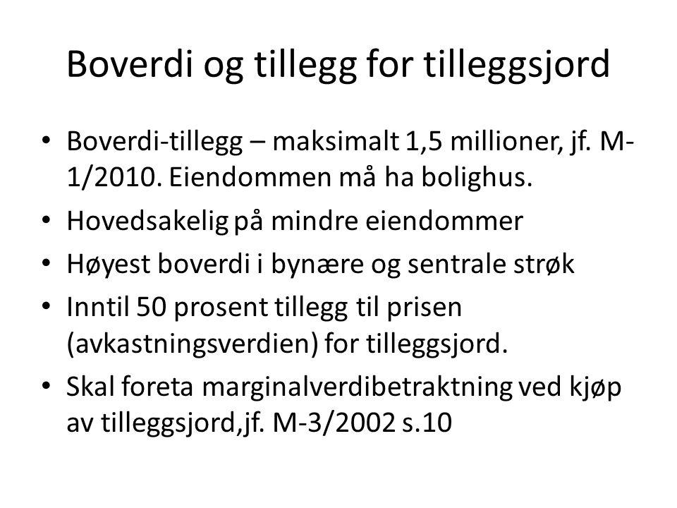 Boverdi og tillegg for tilleggsjord Boverdi-tillegg – maksimalt 1,5 millioner, jf. M- 1/2010. Eiendommen må ha bolighus. Hovedsakelig på mindre eiendo