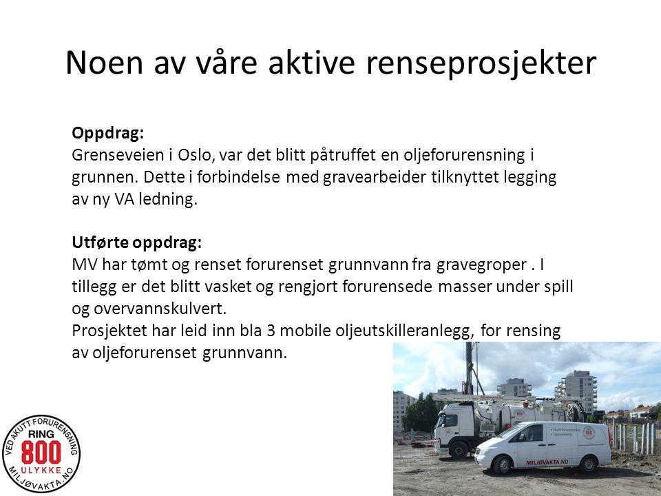 Noen av våre aktive renseprosjekter Oppdrag: Grenseveien i Oslo, var det blitt påtruffet en oljeforurensning i grunnen.