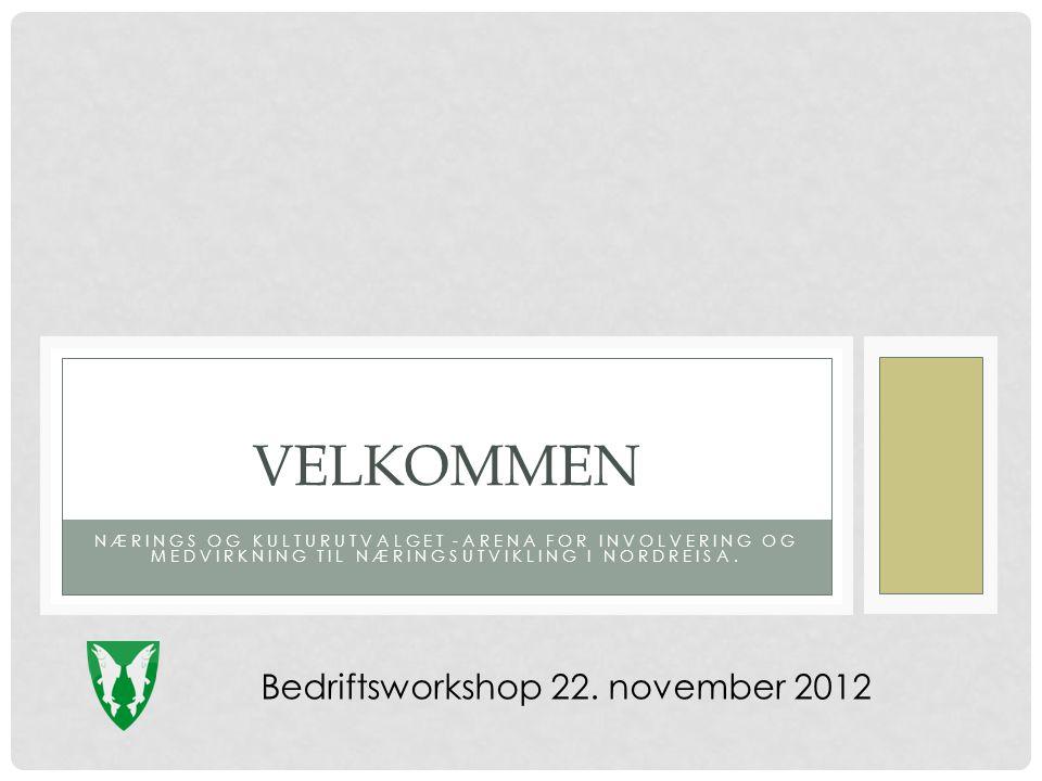 NÆRINGS OG KULTURUTVALGET -ARENA FOR INVOLVERING OG MEDVIRKNING TIL NÆRINGSUTVIKLING I NORDREISA. VELKOMMEN Bedriftsworkshop 22. november 2012