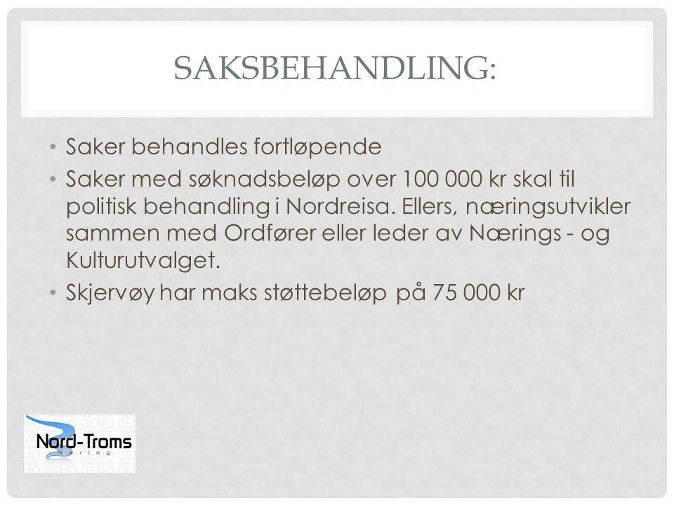 SAKSBEHANDLING: Saker behandles fortløpende Saker med søknadsbeløp over 100 000 kr skal til politisk behandling i Nordreisa. Ellers, næringsutvikler s
