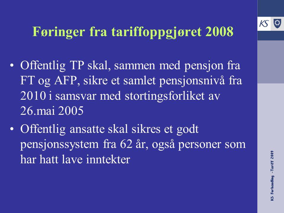 KS Forhandling -Tariff 2009 Føringer fra tariffoppgjøret 2008 Offentlig TP skal, sammen med pensjon fra FT og AFP, sikre et samlet pensjonsnivå fra 20