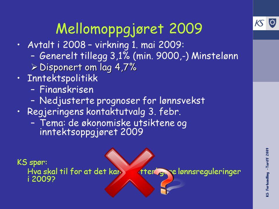 KS Forhandling -Tariff 2009 Mellomoppgjøret 2009 Avtalt i 2008 – virkning 1. mai 2009: –Generelt tillegg 3,1% (min. 9000,-) Minstelønn  Disponert om