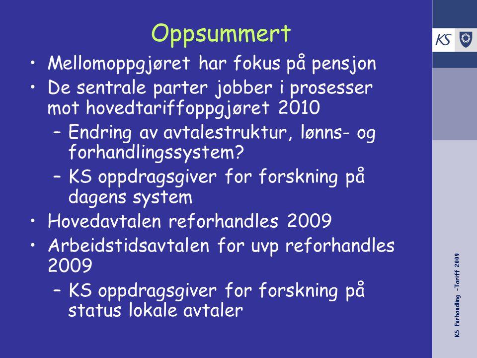 KS Forhandling -Tariff 2009 Oppsummert Mellomoppgjøret har fokus på pensjon De sentrale parter jobber i prosesser mot hovedtariffoppgjøret 2010 –Endri