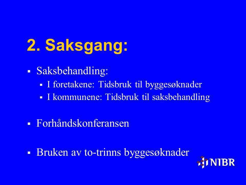 2. Saksgang:  Saksbehandling:  I foretakene: Tidsbruk til byggesøknader  I kommunene: Tidsbruk til saksbehandling  Forhåndskonferansen  Bruken av