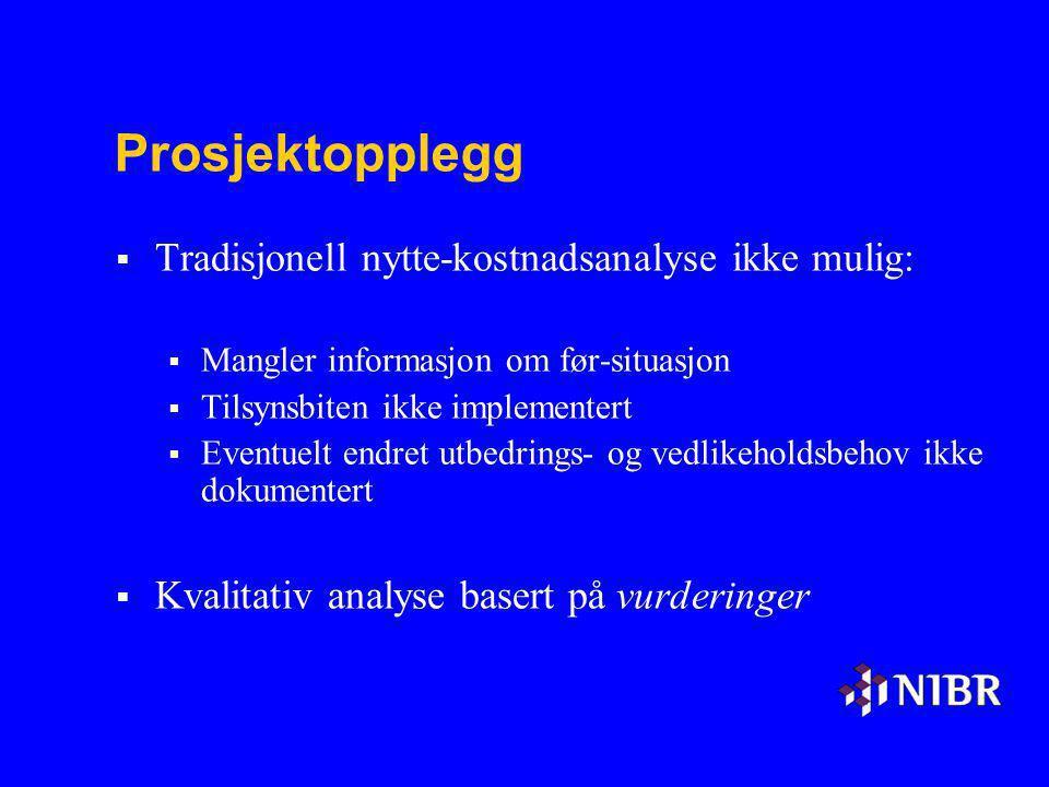 Prosjektopplegg  Tradisjonell nytte-kostnadsanalyse ikke mulig:  Mangler informasjon om før-situasjon  Tilsynsbiten ikke implementert  Eventuelt e
