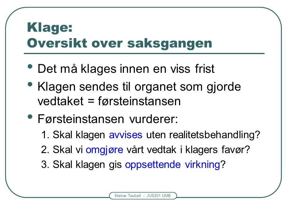 Steinar Taubøll - JUS201 UMB Klage: Oversikt over saksgangen Det må klages innen en viss frist Klagen sendes til organet som gjorde vedtaket = førstei