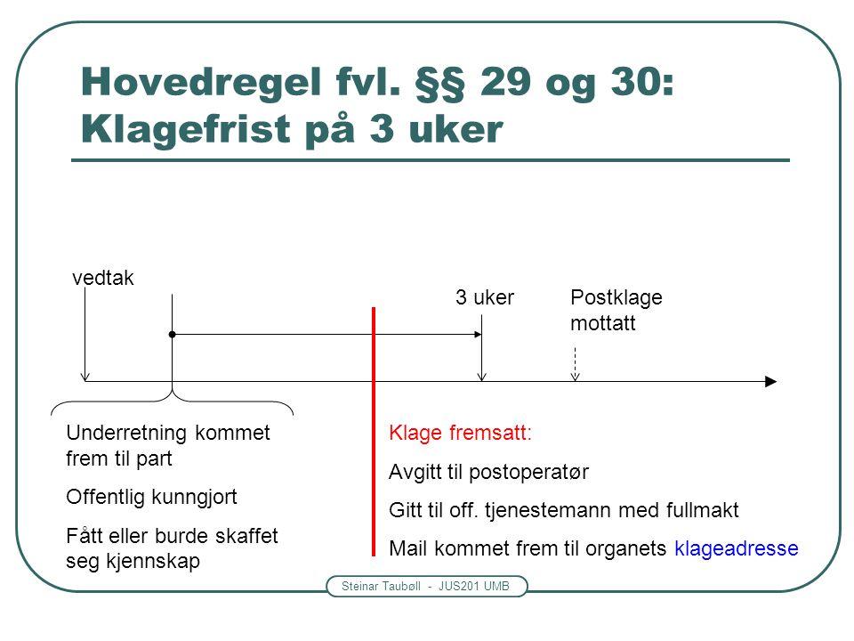 Steinar Taubøll - JUS201 UMB Hovedregel fvl. §§ 29 og 30: Klagefrist på 3 uker 3 uker Underretning kommet frem til part Offentlig kunngjort Fått eller