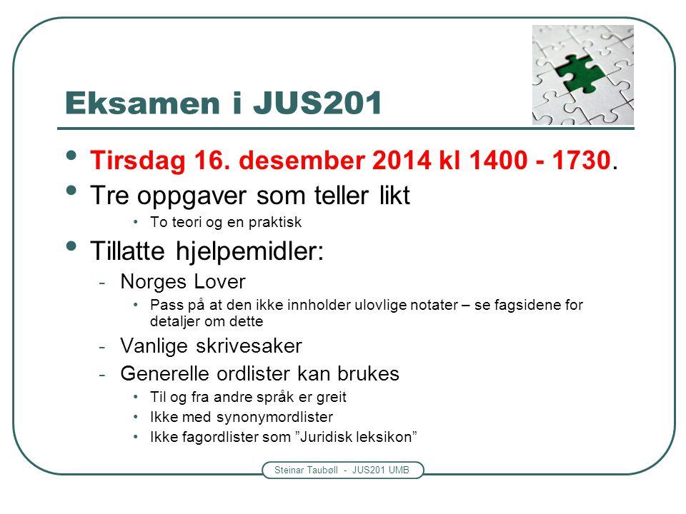 Steinar Taubøll - JUS201 UMB Eksamen i JUS201 Tirsdag 16. desember 2014 kl 1400 - 1730. Tre oppgaver som teller likt To teori og en praktisk Tillatte