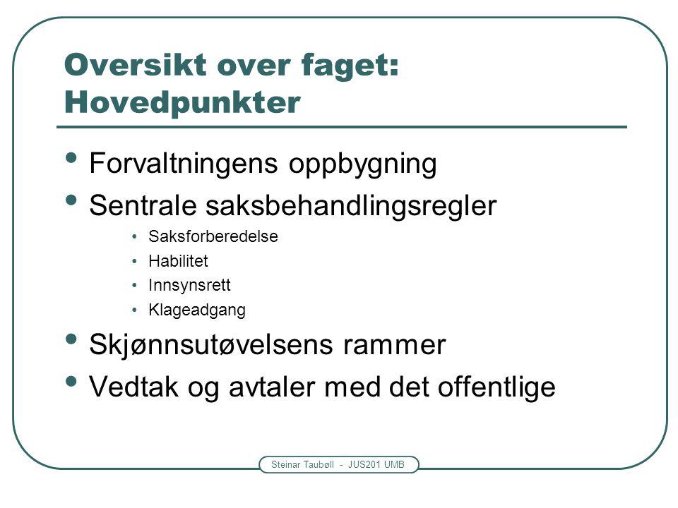 Steinar Taubøll - JUS201 UMB Oversikt over faget: Hovedpunkter Forvaltningens oppbygning Sentrale saksbehandlingsregler Saksforberedelse Habilitet Inn