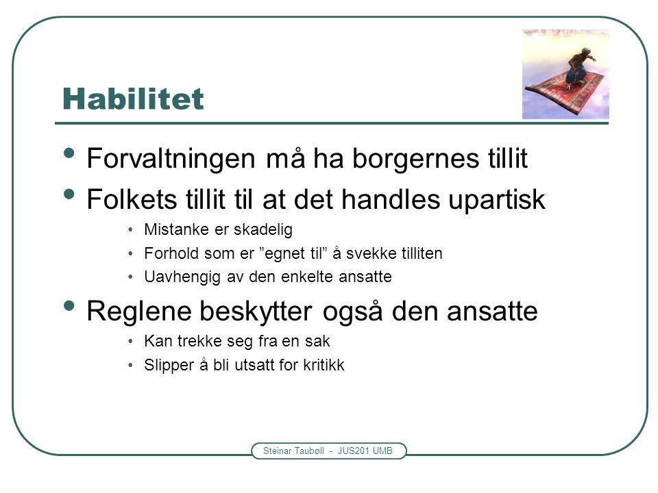 Steinar Taubøll - JUS201 UMB Habilitet Forvaltningen må ha borgernes tillit Folkets tillit til at det handles upartisk Mistanke er skadelig Forhold so