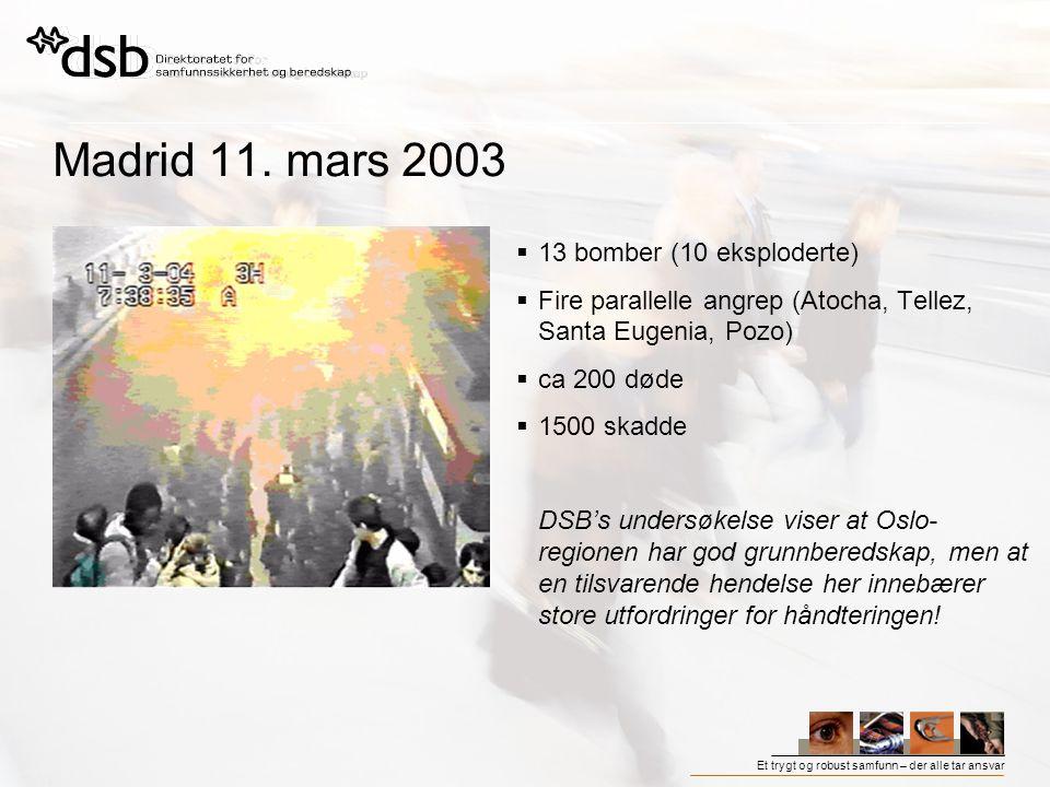 Et trygt og robust samfunn – der alle tar ansvar Madrid 11. mars 2003  13 bomber (10 eksploderte)  Fire parallelle angrep (Atocha, Tellez, Santa Eug