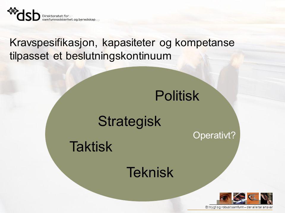 Et trygt og robust samfunn – der alle tar ansvar Kravspesifikasjon, kapasiteter og kompetanse tilpasset et beslutningskontinuum Politisk Strategisk Ta