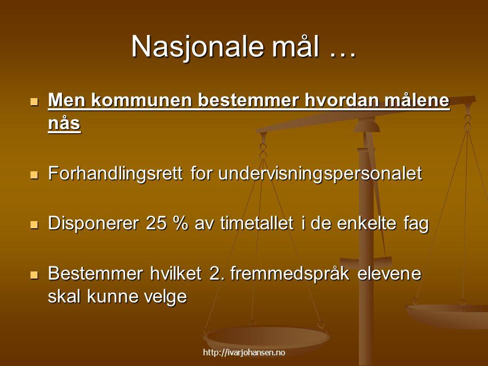 http://ivarjohansen.no Nasjonale mål … Men kommunen bestemmer hvordan målene nås Men kommunen bestemmer hvordan målene nås Forhandlingsrett for underv