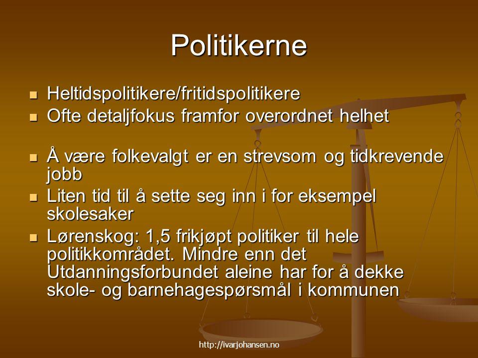 http://ivarjohansen.no Politikerne Heltidspolitikere/fritidspolitikere Heltidspolitikere/fritidspolitikere Ofte detaljfokus framfor overordnet helhet