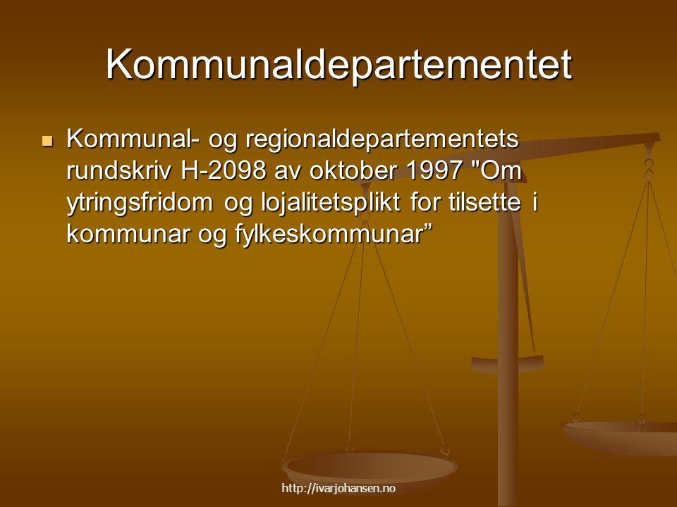 http://ivarjohansen.no Kommunaldepartementet Kommunal- og regionaldepartementets rundskriv H-2098 av oktober 1997