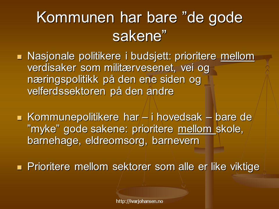 """http://ivarjohansen.no Kommunen har bare """"de gode sakene"""" Nasjonale politikere i budsjett: prioritere mellom verdisaker som militærvesenet, vei og nær"""