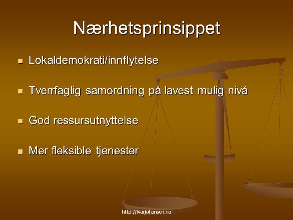 http://ivarjohansen.no Nærhetsprinsippet Lokaldemokrati/innflytelse Lokaldemokrati/innflytelse Tverrfaglig samordning på lavest mulig nivå Tverrfaglig