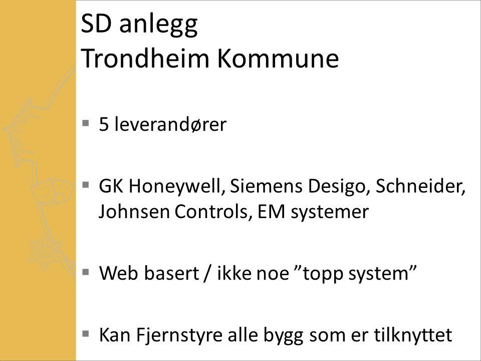 SD anlegg Trondheim Kommune  5 leverandører  GK Honeywell, Siemens Desigo, Schneider, Johnsen Controls, EM systemer  Web basert / ikke noe topp system  Kan Fjernstyre alle bygg som er tilknyttet