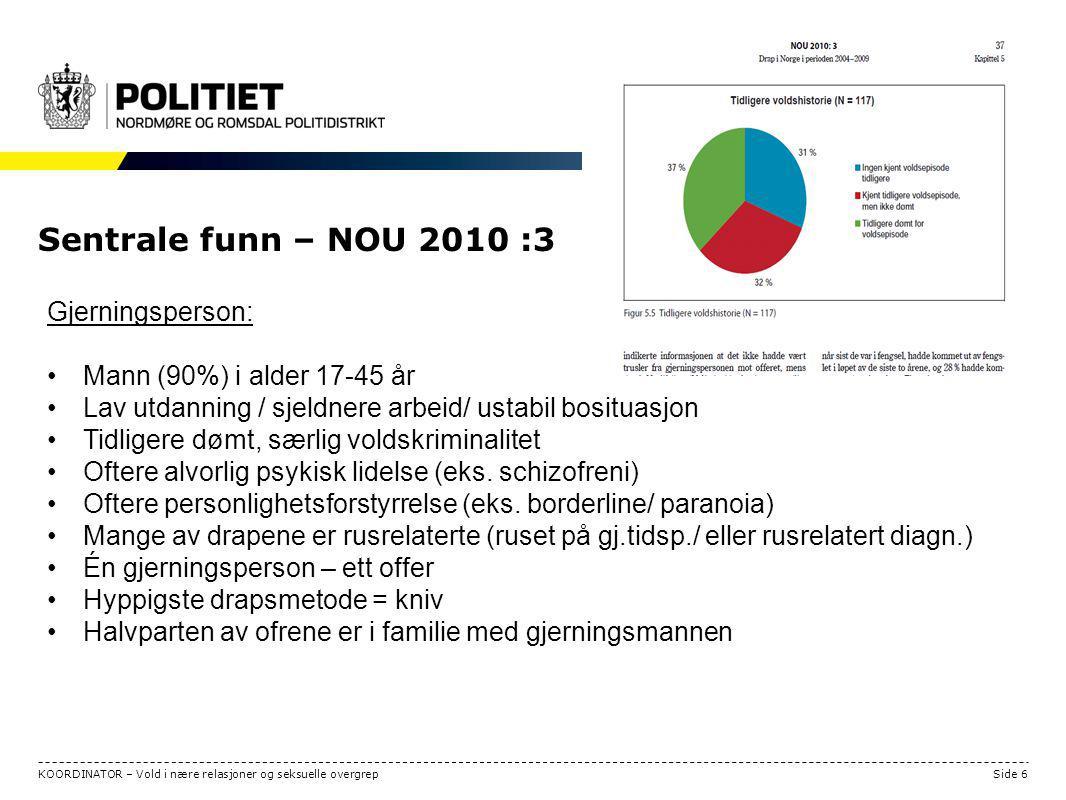 STRATEGISK ANALYSE Side 6KOORDINATOR – Vold i nære relasjoner og seksuelle overgrep Sentrale funn – NOU 2010 :3 Gjerningsperson: Mann (90%) i alder 17