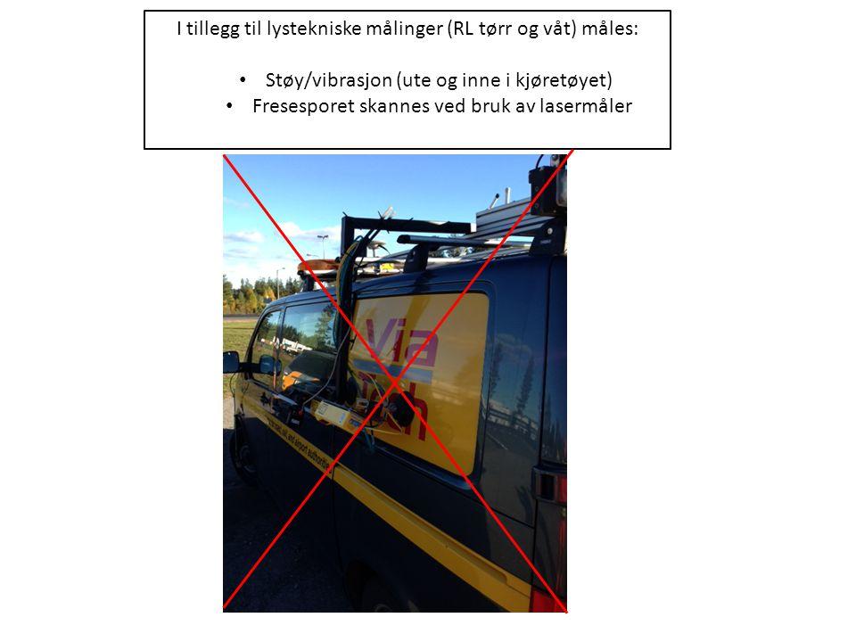 I tillegg til lystekniske målinger (RL tørr og våt) måles: Støy/vibrasjon (ute og inne i kjøretøyet) Fresesporet skannes ved bruk av lasermåler
