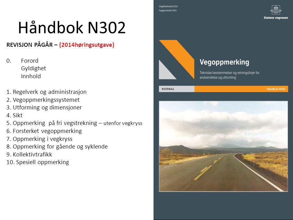 Håndbok N302 REVISJON PÅGÅR – (2014høringsutgave) 0.Forord Gyldighet Innhold 1. Regelverk og administrasjon 2. Vegoppmerkingssystemet 3. Utforming og