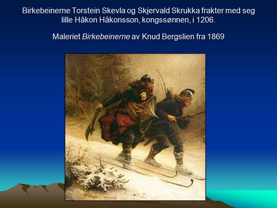 Birkebeinerne Torstein Skevla og Skjervald Skrukka frakter med seg lille Håkon Håkonsson, kongssønnen, i 1206. Maleriet Birkebeinerne av Knud Bergslie