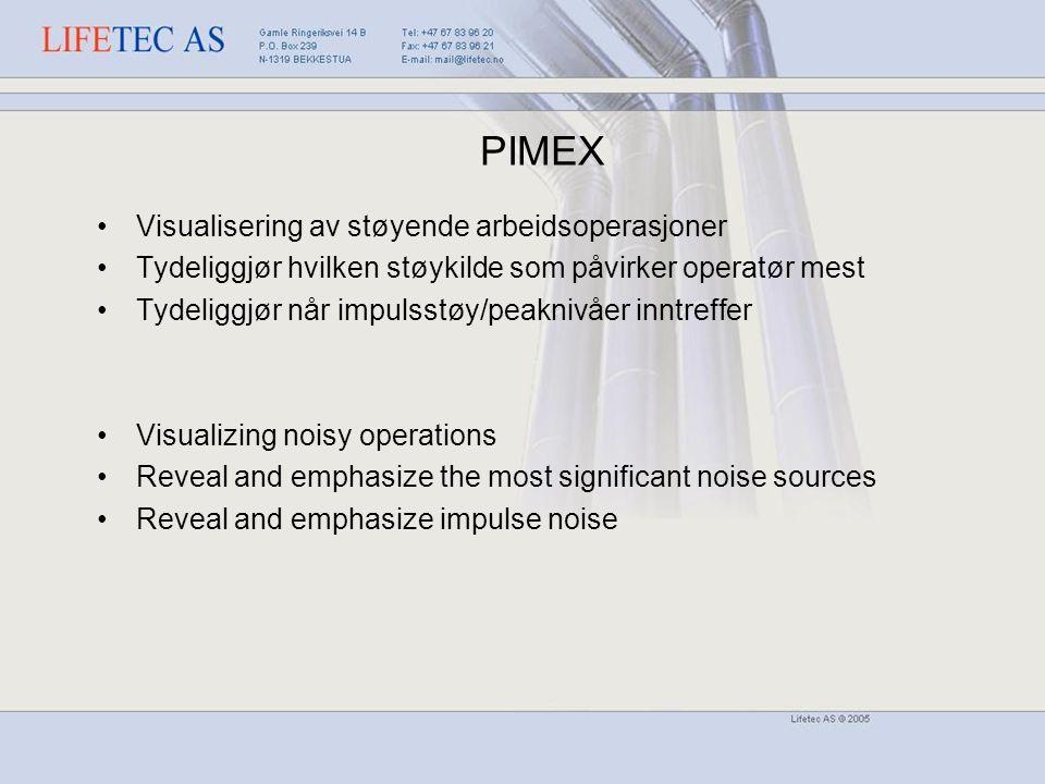 Visualisering av støyende arbeidsoperasjoner Tydeliggjør hvilken støykilde som påvirker operatør mest Tydeliggjør når impulsstøy/peaknivåer inntreffer Visualizing noisy operations Reveal and emphasize the most significant noise sources Reveal and emphasize impulse noise PIMEX