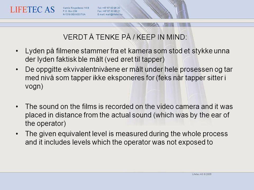 VERDT Å TENKE PÅ / KEEP IN MIND: Lyden på filmene stammer fra et kamera som stod et stykke unna der lyden faktisk ble målt (ved øret til tapper) De oppgitte ekvivalentnivåene er målt under hele prosessen og tar med nivå som tapper ikke eksponeres for (feks når tapper sitter i vogn) The sound on the films is recorded on the video camera and it was placed in distance from the actual sound (which was by the ear of the operator) The given equivalent level is measured during the whole process and it includes levels which the operator was not exposed to