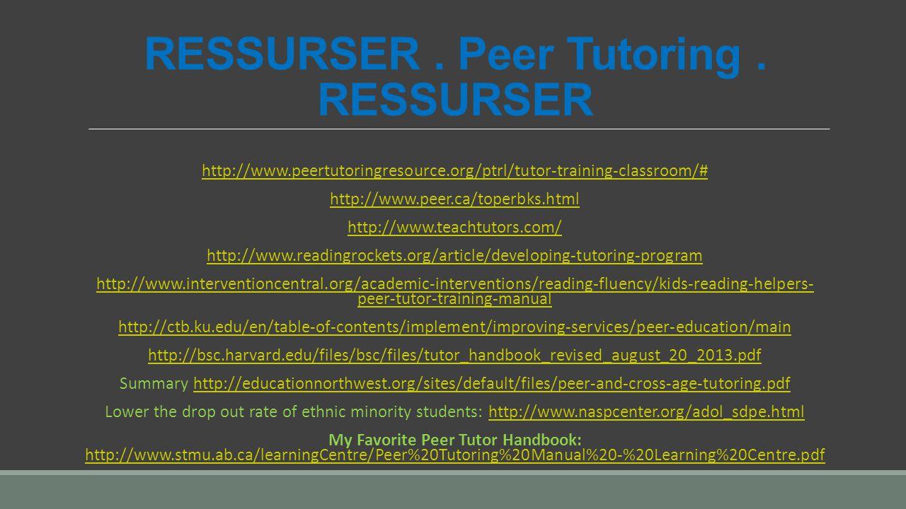 RESSURSER. Peer Tutoring. RESSURSER http://www.peertutoringresource.org/ptrl/tutor-training-classroom/# http://www.peer.ca/toperbks.html http://www.te