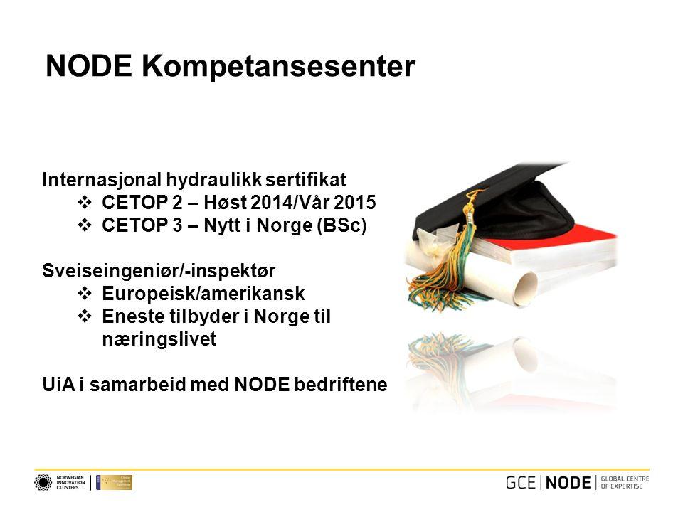 NODE Kompetansesenter Internasjonal hydraulikk sertifikat  CETOP 2 – Høst 2014/Vår 2015  CETOP 3 – Nytt i Norge (BSc) Sveiseingeniør/-inspektør  Europeisk/amerikansk  Eneste tilbyder i Norge til næringslivet UiA i samarbeid med NODE bedriftene