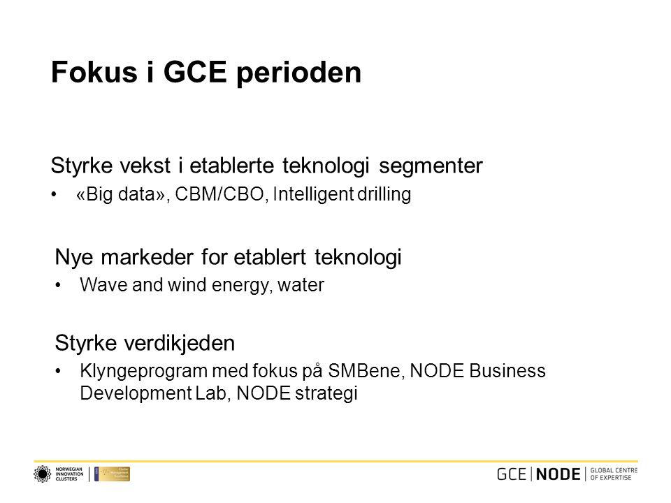 Fokus i GCE perioden Styrke vekst i etablerte teknologi segmenter «Big data», CBM/CBO, Intelligent drilling Nye markeder for etablert teknologi Wave a