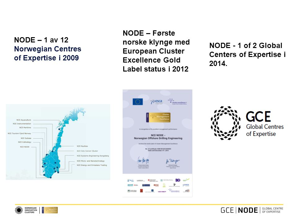 NODE – 1 av 12 Norwegian Centres of Expertise i 2009 NODE – Første norske klynge med European Cluster Excellence Gold Label status i 2012 NODE - 1 of