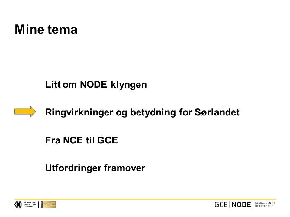 Mine tema Litt om NODE klyngen Ringvirkninger og betydning for Sørlandet Fra NCE til GCE Utfordringer framover