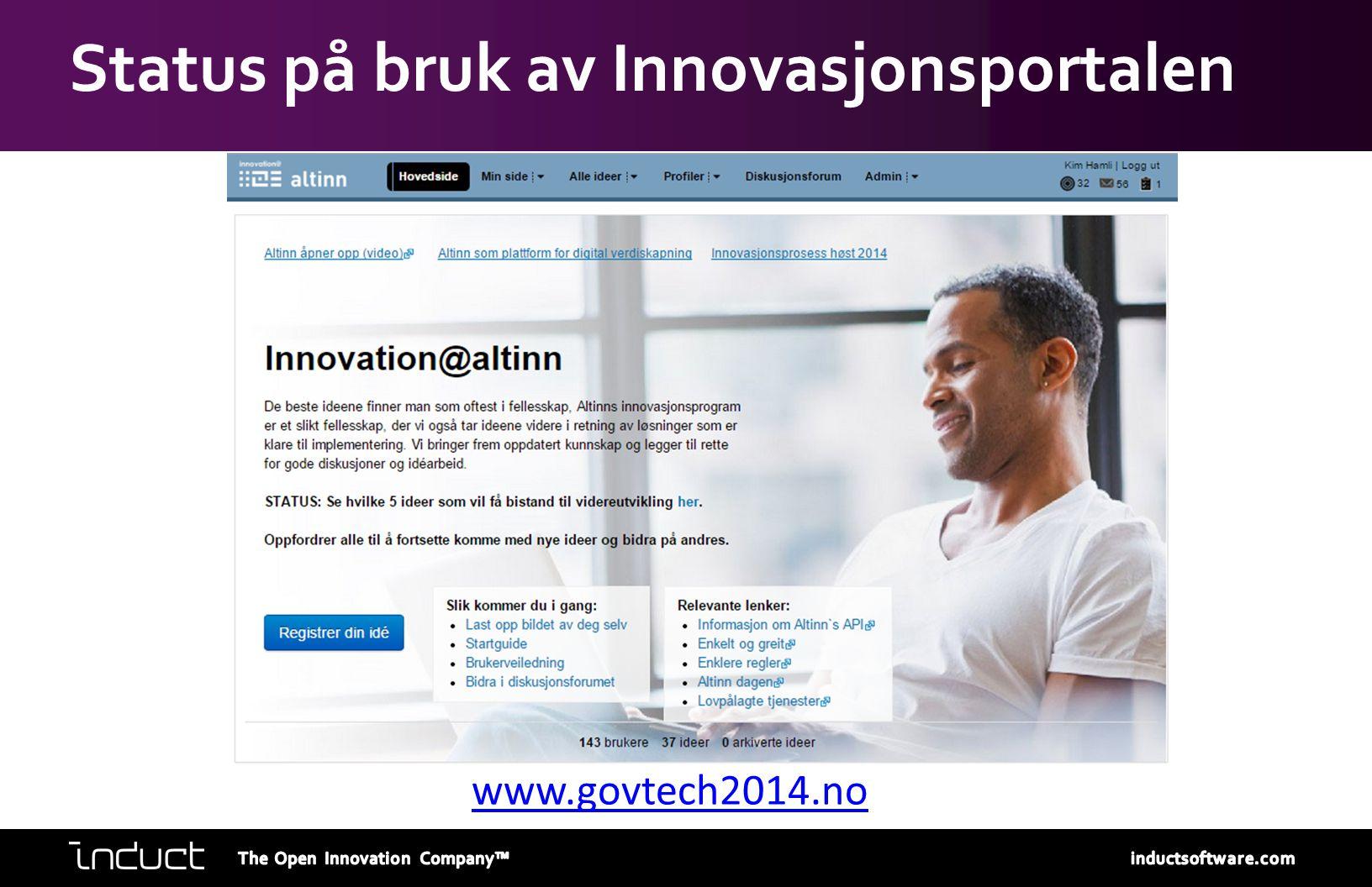 Status på bruk av Innovasjonsportalen www.govtech2014.no