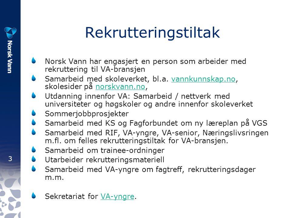 3 Rekrutteringstiltak Norsk Vann har engasjert en person som arbeider med rekruttering til VA-bransjen Samarbeid med skoleverket, bl.a.