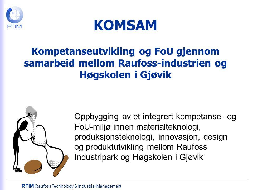 RTIM Raufoss Technology & Industrial Management KOMSAM Kompetanseutvikling og FoU gjennom samarbeid mellom Raufoss-industrien og Høgskolen i Gjøvik Oppbygging av et integrert kompetanse- og FoU-miljø innen materialteknologi, produksjonsteknologi, innovasjon, design og produktutvikling mellom Raufoss Industripark og Høgskolen i Gjøvik