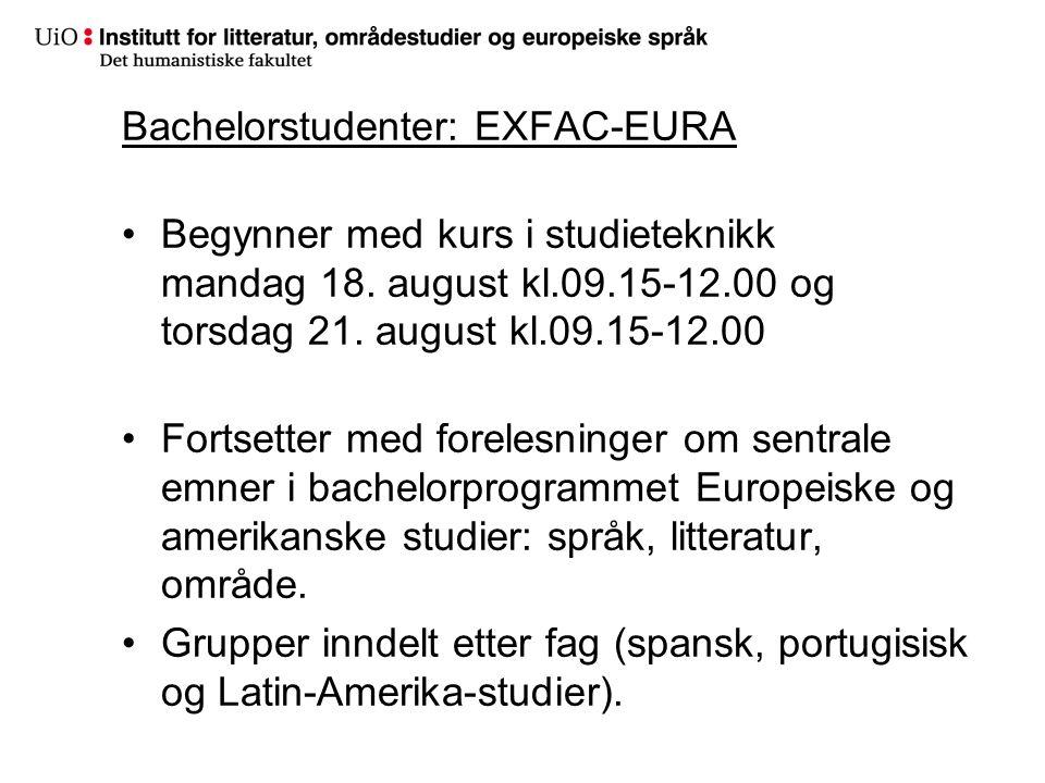 Bachelorstudenter: EXFAC-EURA Begynner med kurs i studieteknikk mandag 18.