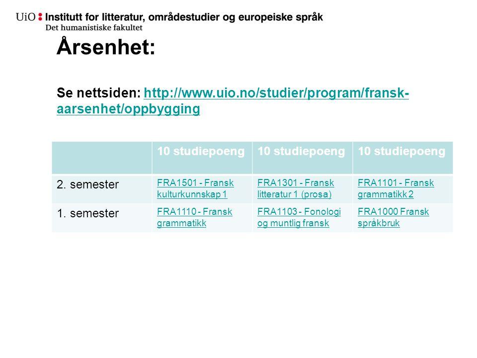 Årsenhet: Se nettsiden: http://www.uio.no/studier/program/fransk- aarsenhet/oppbygginghttp://www.uio.no/studier/program/fransk- aarsenhet/oppbygging 10 studiepoeng 2.