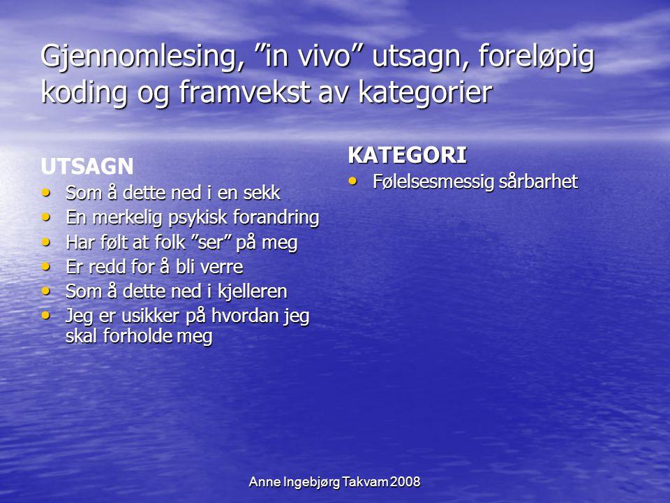 Anne Ingebjørg Takvam 2008 LÆRE Å LEVE MED SENVIRKNINGER Kjernekategori Det Kroppslige Sosial deltakelse og familieliv Arbeidstilknytning Følelsesmessig sårbarhet