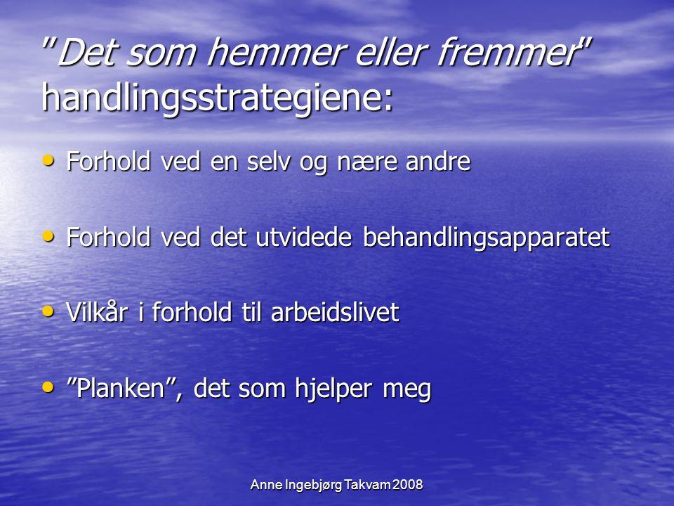 """Anne Ingebjørg Takvam 2008 """"Det som hemmer eller fremmer"""" handlingsstrategiene: Forhold ved en selv og nære andre Forhold ved en selv og nære andre Fo"""