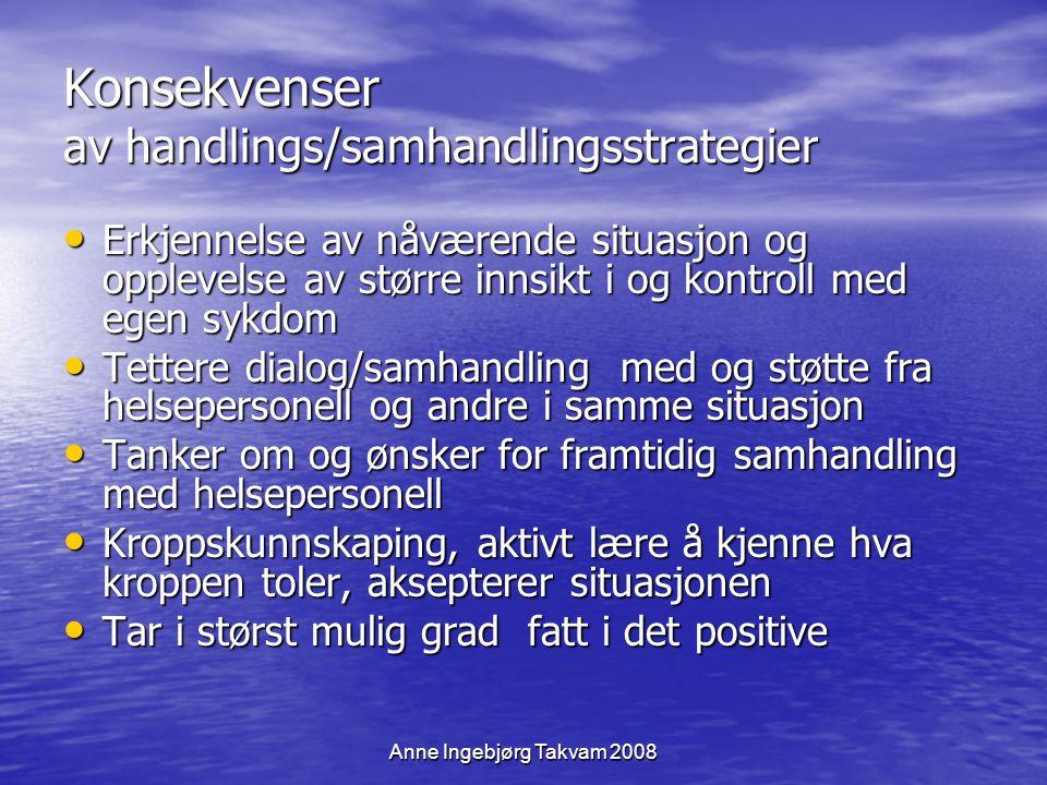 Anne Ingebjørg Takvam 2008 Konsekvenser av handlings/samhandlingsstrategier Erkjennelse av nåværende situasjon og opplevelse av større innsikt i og ko