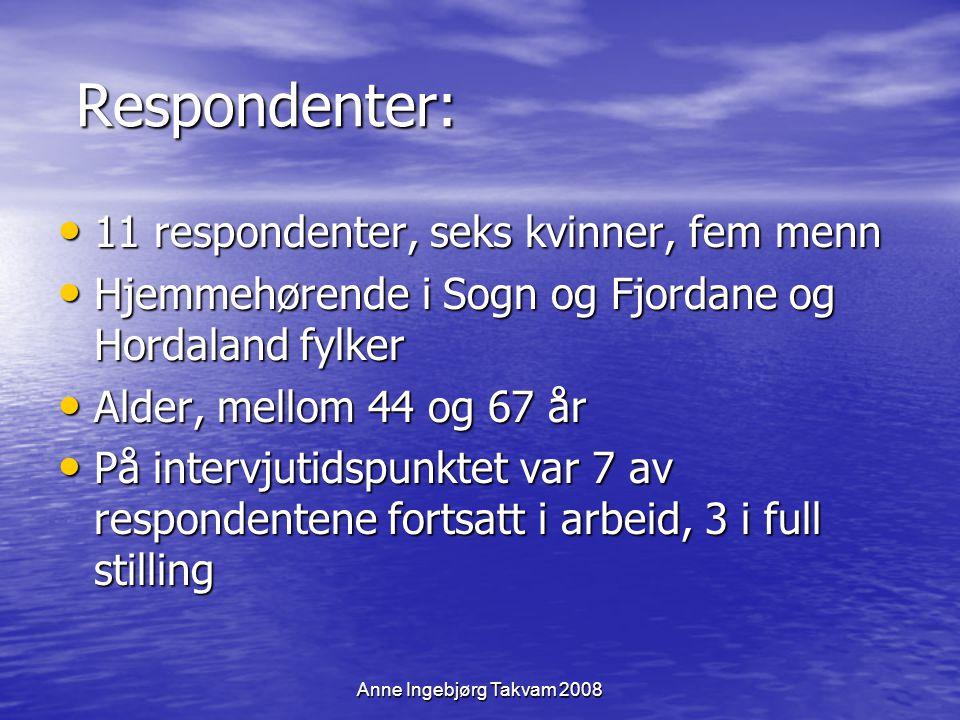 Anne Ingebjørg Takvam 2008 Respondenter: Respondenter: 11 respondenter, seks kvinner, fem menn 11 respondenter, seks kvinner, fem menn Hjemmehørende i