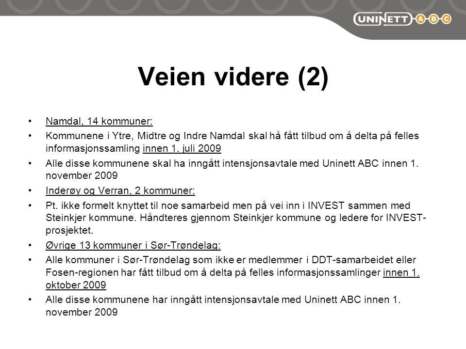 Veien videre (2) Namdal, 14 kommuner: Kommunene i Ytre, Midtre og Indre Namdal skal hå fått tilbud om å delta på felles informasjonssamling innen 1.