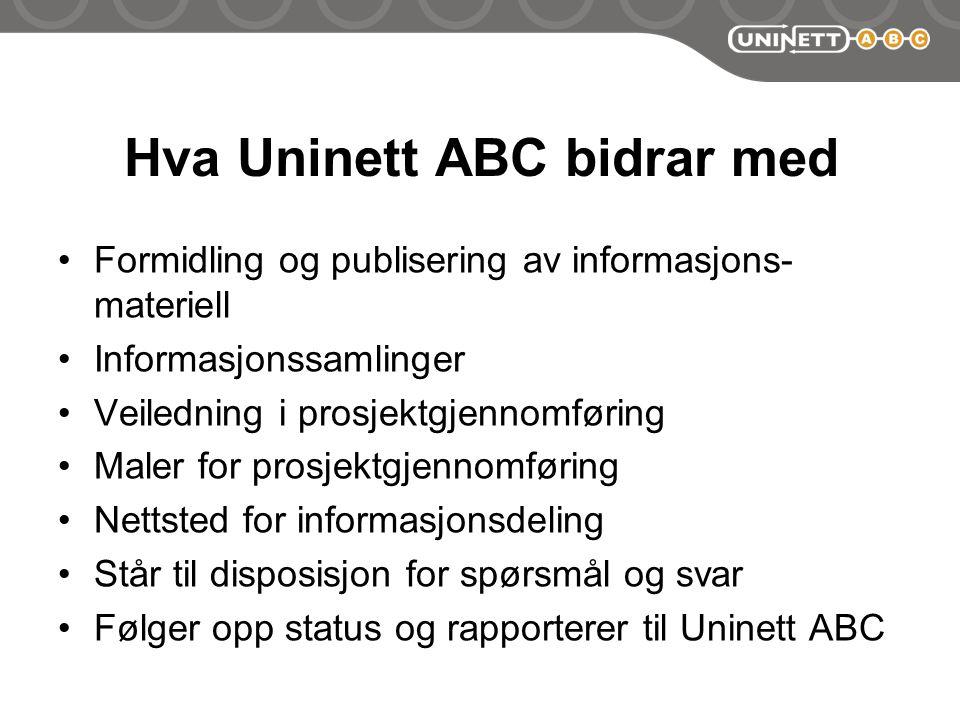 Hva Uninett ABC bidrar med Formidling og publisering av informasjons- materiell Informasjonssamlinger Veiledning i prosjektgjennomføring Maler for prosjektgjennomføring Nettsted for informasjonsdeling Står til disposisjon for spørsmål og svar Følger opp status og rapporterer til Uninett ABC
