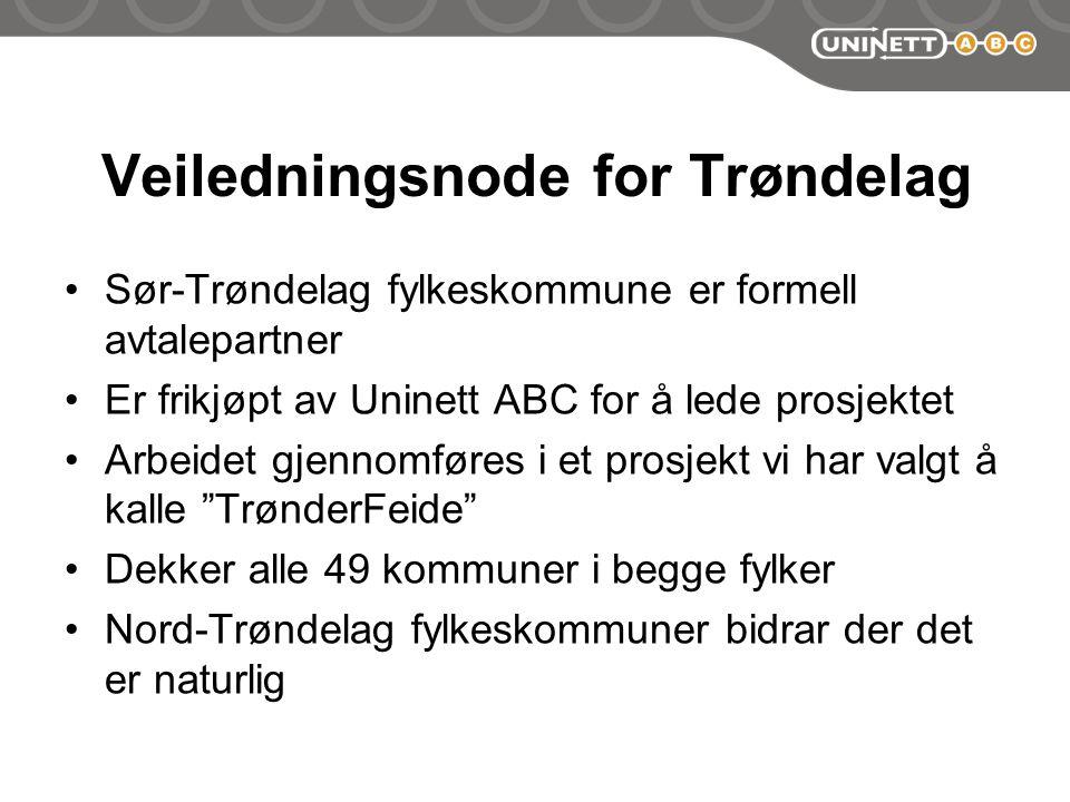 Veiledningsnode for Trøndelag Sør-Trøndelag fylkeskommune er formell avtalepartner Er frikjøpt av Uninett ABC for å lede prosjektet Arbeidet gjennomføres i et prosjekt vi har valgt å kalle TrønderFeide Dekker alle 49 kommuner i begge fylker Nord-Trøndelag fylkeskommuner bidrar der det er naturlig