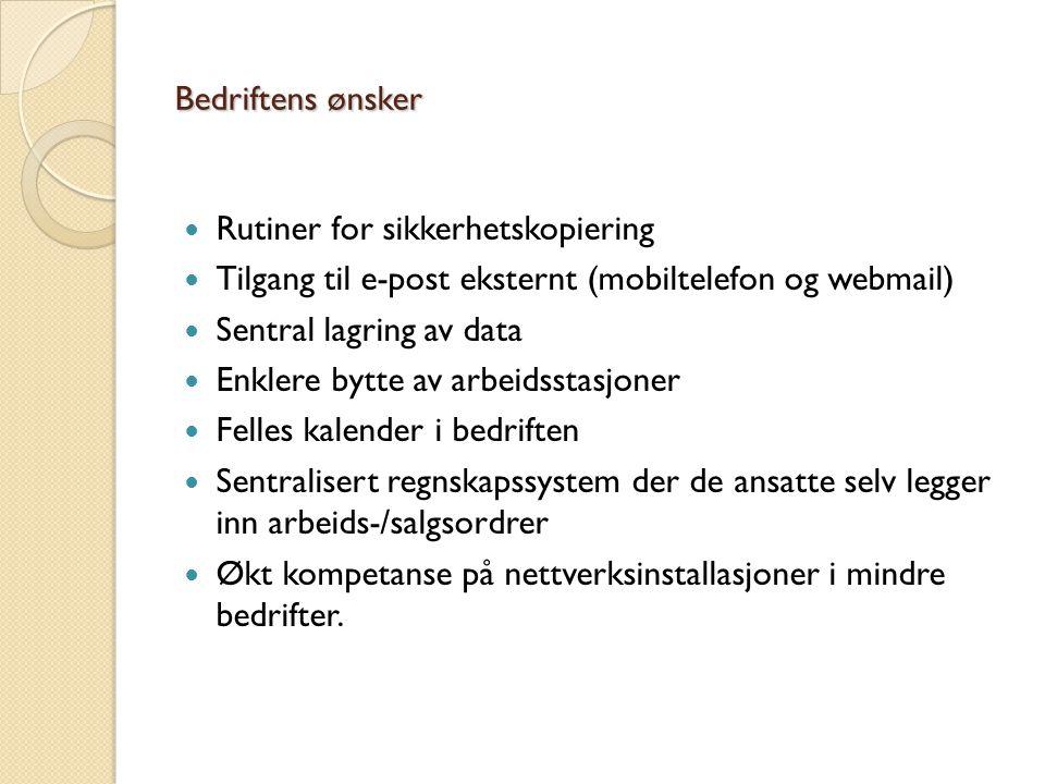 Bedriftens ønsker Rutiner for sikkerhetskopiering Tilgang til e-post eksternt (mobiltelefon og webmail) Sentral lagring av data Enklere bytte av arbei